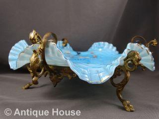Alte Antike Schale Anbieteschale Glas Opalglas Böhmen Metallmontierung Handgemal Bild
