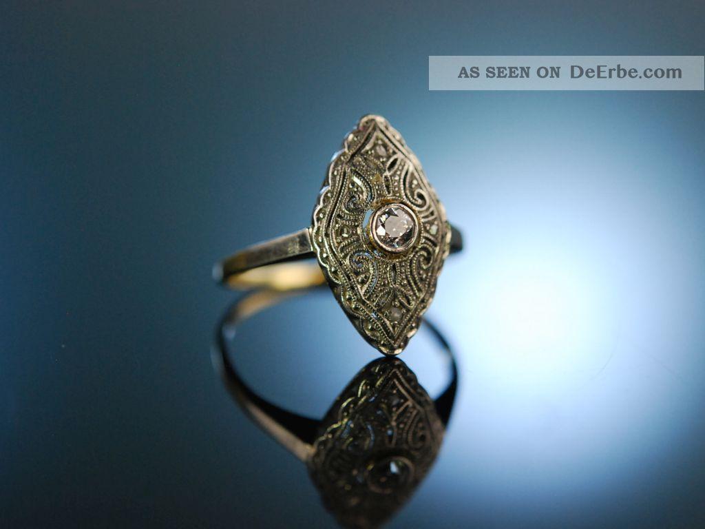 Antique Engagement Ring Art Deco Verlobungs Ring Gold 585 Platin Diamant Um 1925 Schmuck nach Epochen Bild