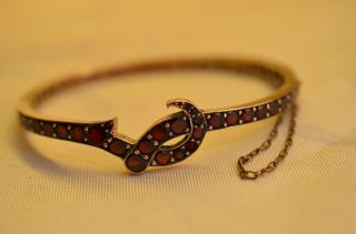 Alter Antiker Ausgefallener Granat Armband Armreif Um 1900/1910 Bild