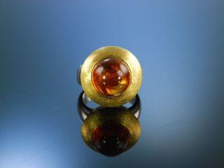 Modern Citrin Ring Sterling Silber 925 Vergoldet Satiniert Citrin Cabochon Bild
