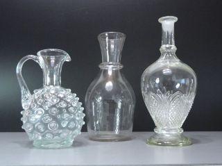 Antik Satz 3 Stück Altes Glas - Noppenkanne - Saftkaraffe - Geschliffene Karaffe Bild