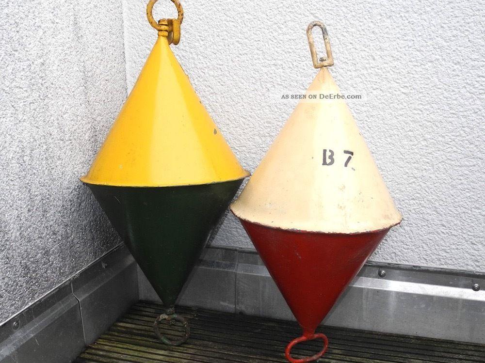 2 Maritime Bojen - Antik Signalboje - Metallboje - Ankerboje - 60cm & 68cm