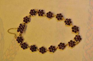 Schönes Ausgefallenes Granat Armband Silber 925 Vergoldet Bild