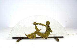 Seltene FranzÖsische Art Deco Glas Lampe Frau Spielt Mit Hund Antik Lamp Bild