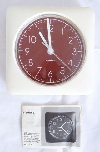 Vintage 70er Jahre Siemens Küchenuhr Panton Ära Wanduhr Typ Mu 3900 Beschreibung Bild