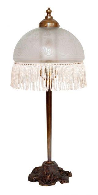 Sehr Schöne Jugendstil Tischleuchte Schreibtischlampe Geätzter Schirm Bild