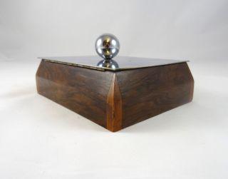 Modernist Art Deco Chrom & Nußbaum Schmuckschatulle Uhrenbox KÄstchen Antik Bild