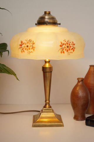 Tolle Zierliche Shabby Chic Jugendstil Tischleuchte Kaffeehauslampe Blumen Bild