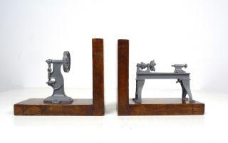 Seltene Große Steampunk Industrie Design Holz BuchstÜtzen Drehbank 30er Bild