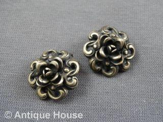Silber 835 Schmuck älteres Schmuckstück Ohrringe Rosenform Clips Bild
