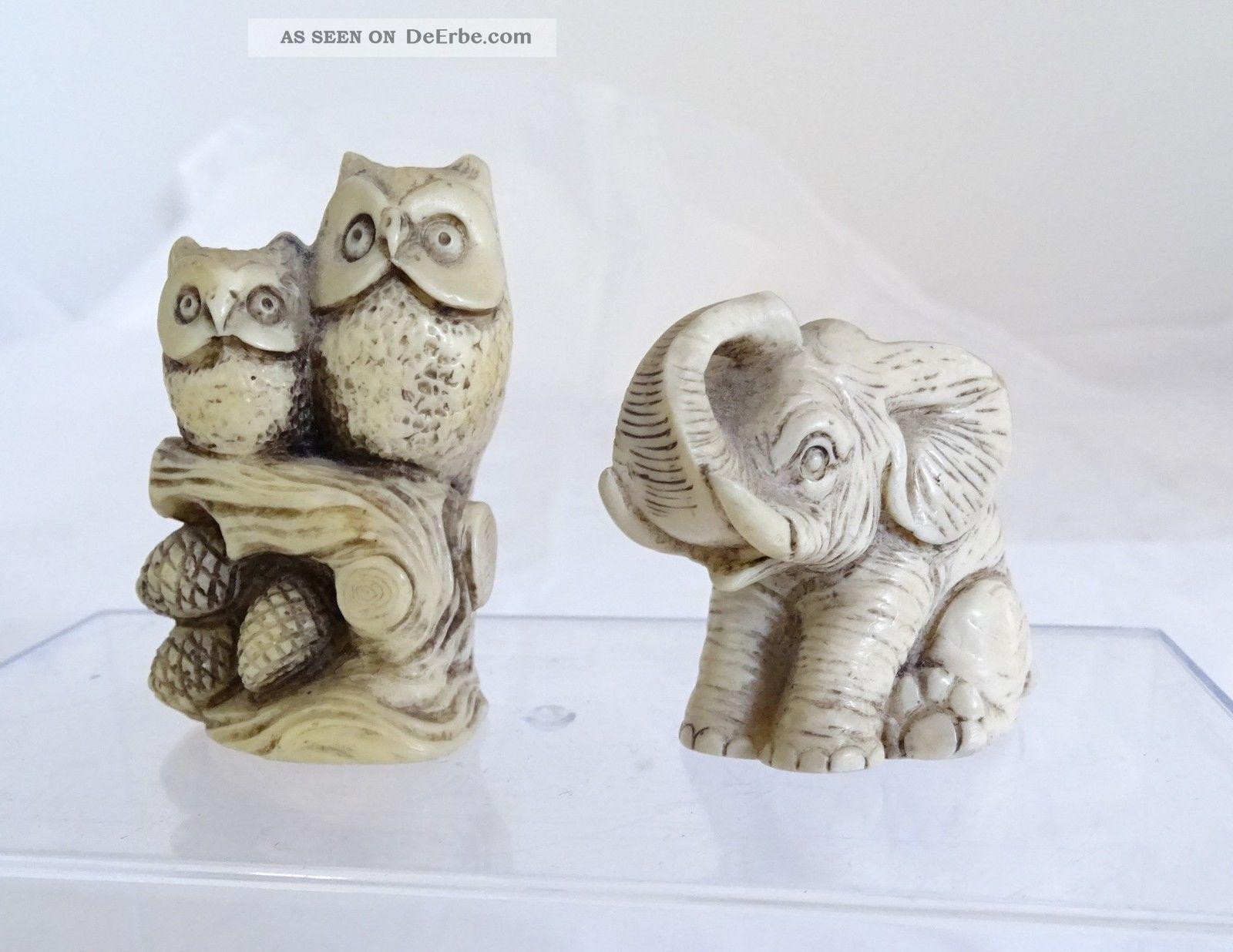 Paar Antike Beinfiguren Elefant Und Ein Paar Eulen Auf Holzstumpf Ast Beinarbeiten Bild