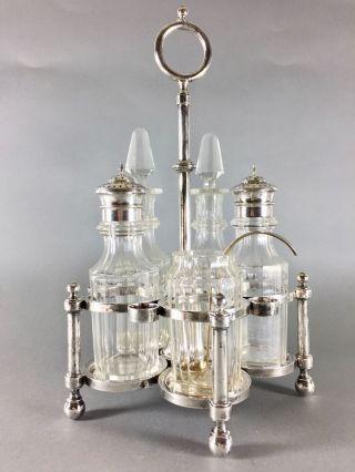 Menage - Silber - J.  C.  Osthues,  Münster,  5 Originale Glaseinsätze Bild