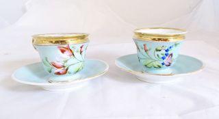 August Rappsilber Paar Kaffee Tassen Blumendekor Handbemalt Vor 1900 Bild