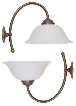 2 Stk.  Berliner Jugendstil Messinglampen Wandlampen Wandleuchten Opalglas Bild
