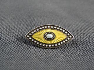 Schmuck Schmuckstück Kleine Silberbrosche Gelb Und Weiss Emailiert Bild