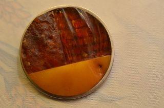 Schöne Alte Ausgefallene Bernsteinbrosche Amber Butterscotch Bild