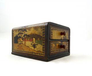 Seltene Japanische Art Deco Spielkarten KÄstchen Intarsien Marqueterie Antik Box Bild