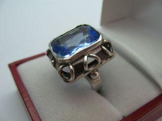 Sehr Schöner 40er Jahre Ring Aus 835 Silber Mit Blauem Stein Bild