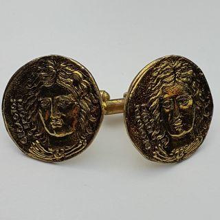 Seltene Vintage ManschettenknÖpfe Cufflinks Portrait Relief Metall Vergoldet Bild