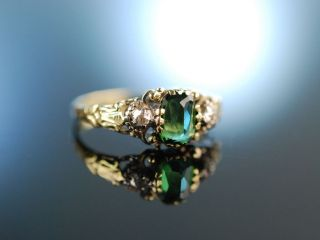 Um 1890 Antiker Verlobungs Ring Gold 585 Turmalin GrÜn Diamant Rosen Engagement Bild