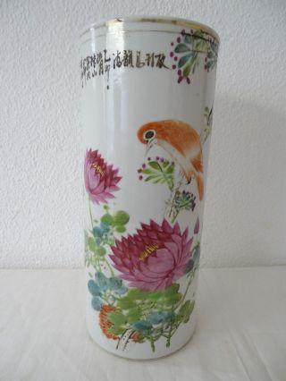 Antike Rarität Handbemalte Herrliche Vase Asiatika Blumen Vögel Wohl China Bild