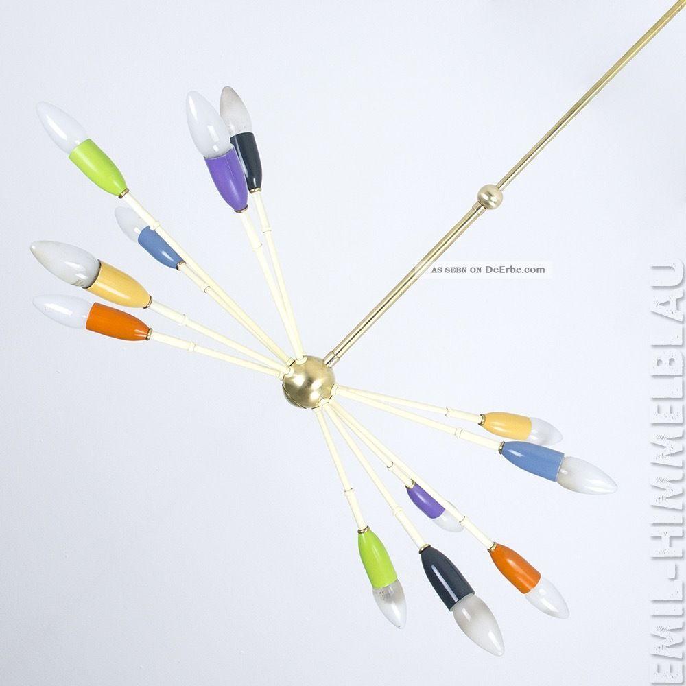 Sputnik 12 - Armig Decken Pendel Lampe 50s 60s Schwarz Spinne Stilnovo Vintage 1950-1959 Bild