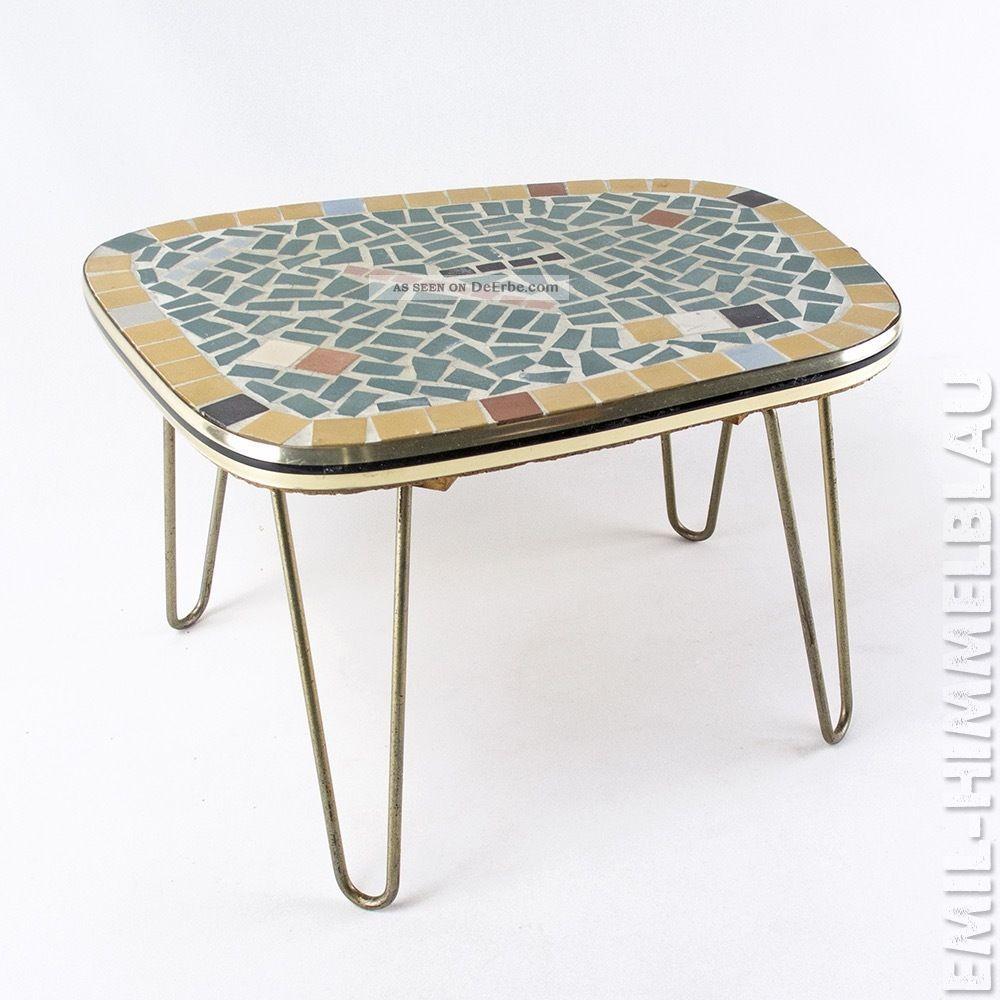 Blumentisch Tischchen Blumenbank 50er Mosaik Messing Schlaufen Vintage 50s 1950-1959 Bild