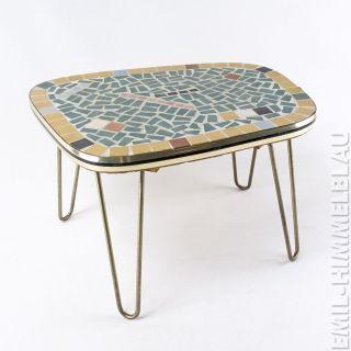 Blumentisch Tischchen Blumenbank 50er Mosaik Messing Schlaufen Vintage 50s Bild