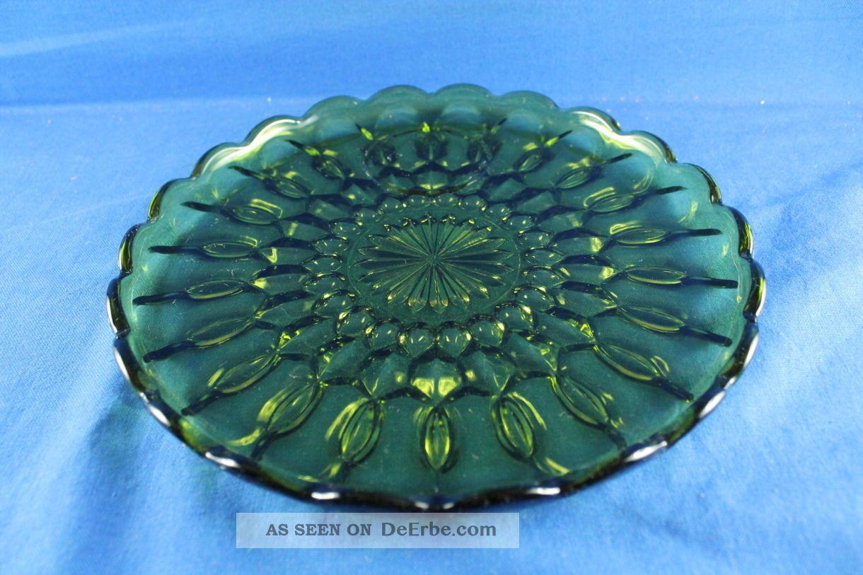 22463 - Servierplatte Teller Glasplatte Grün Sammlerglas Bild