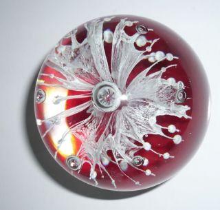 Kristall - Glas - Kugel Rot,  Briefbeschwerer,  Paperweight,  623 Gr.  Rot Dekokugel Bild