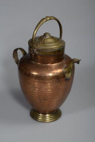Kupferkanne Im Hammerschlagdekor Mit Deckerl Bild