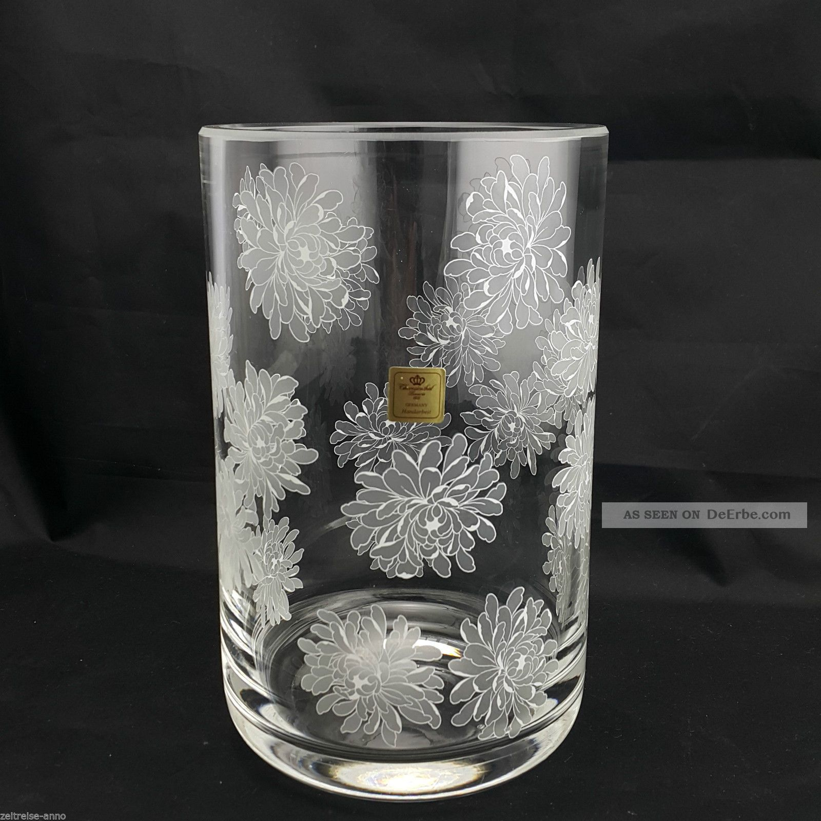 Rare Theresienthal Vase Blumenvase Bleikristall 22cm Blumen Astern Dekor 1,  7kg Kristall Bild