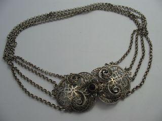Handarbeit Wunderschöne 4 Reihige Alpenländische Kropfkette Aus 835 Silber Bild
