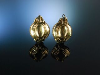 MÜnchener Biedermeier Um 1860 Ohrringe Schaum Gold Silber Antik Antique Earrings Bild