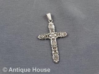 Silber 835 Alterer Kettenanhänger Kreuz Mit Blütendekor Bild