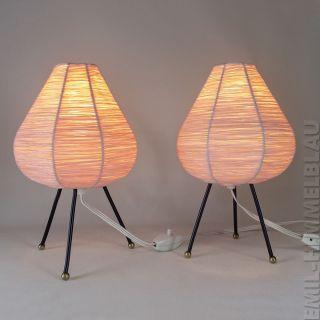 Paar Tisch Lampe Bast Leuchte Lamp 50s Nachttisch Tripod Rockabilly Vintage Bild