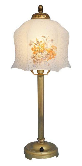 Wunderschöne Shabby Chic Jugendstil Tischleuchte Lampe Messing Bild