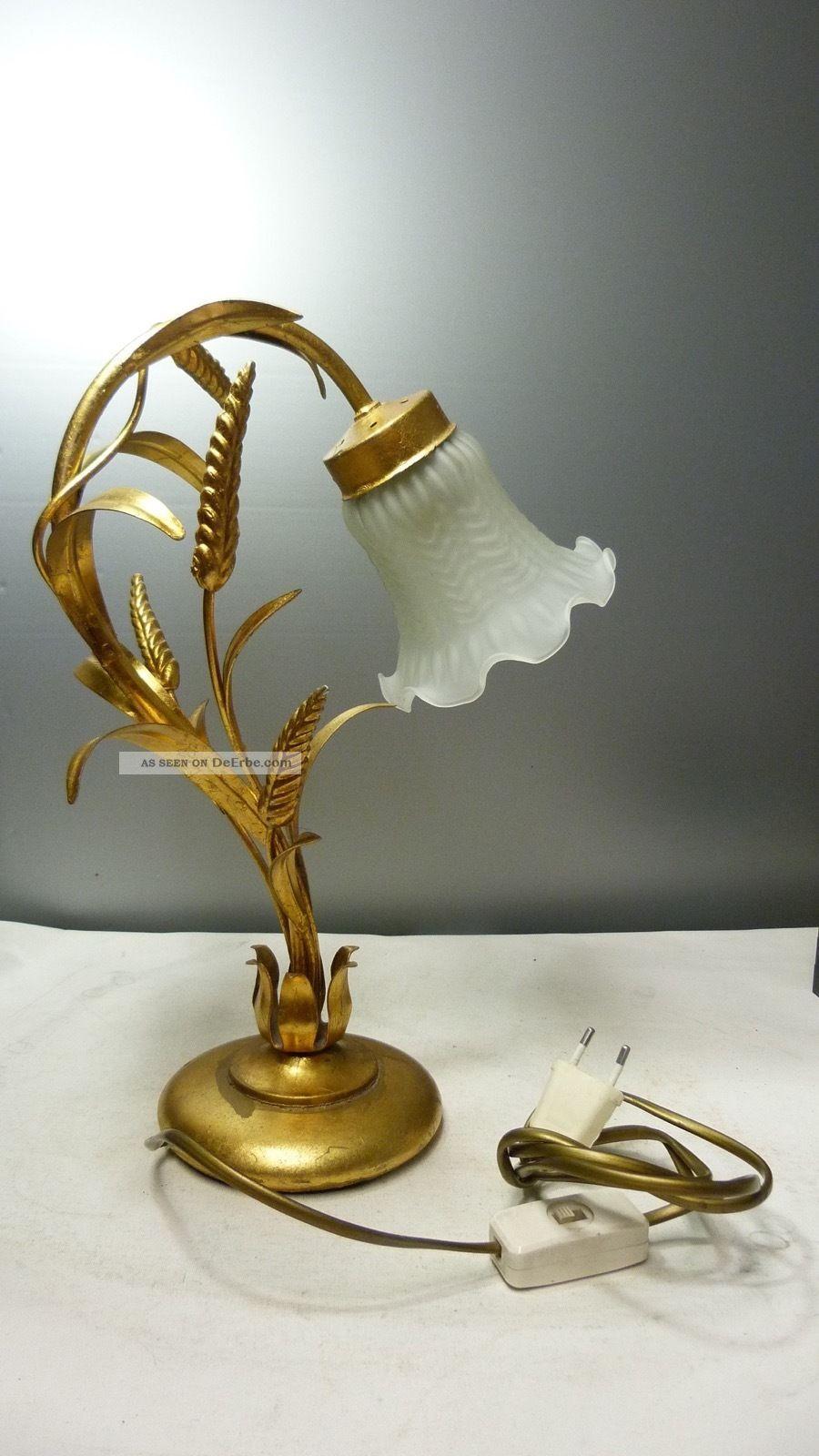 Florentiner Lampe - Nacht - / Tischlampe - Landhaus Shabby Chic - Glasschirm Gefertigt nach 1945 Bild