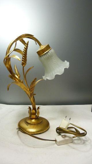 Florentiner Lampe - Nacht - / Tischlampe - Landhaus Shabby Chic - Glasschirm Bild