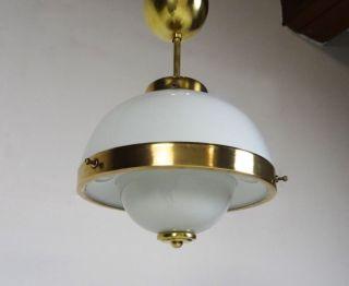 Art Deco Leuchter Deckenlampe Bauhaus 1930 Messing & Glas LÜster Bild
