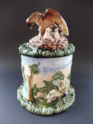 Black Forest Jagd Tabak Humidor Tobacco Jar Eagle Adler Hirsch Deer Antique Hunt Bild
