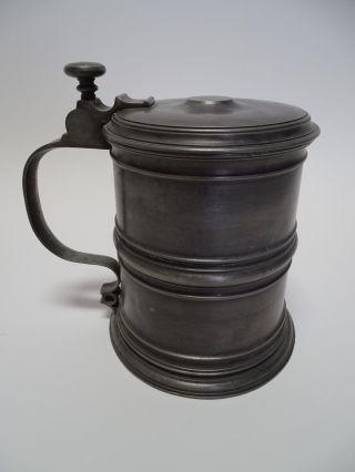 Rarität Antiker Walzenkrug Alte Probe 1756 Zinn Krug Mit Deckel Bild