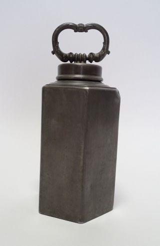 Antike Zinn Schraubflasche Block Zinn 1820 Mit Drachenkopf Henkel Bild