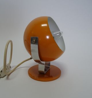 Space Age Panton Ära Nachttisch Kugel Lampe Orange Chrom Metall Design Bild