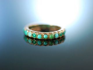 Antiker TÜrkis Ring Gold 585 England Um 1890 Victorian Turquoise Eternity Ring Bild