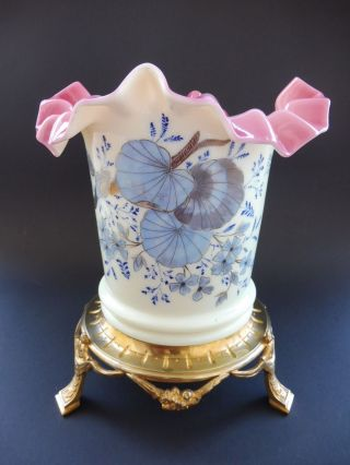 Jugendstil Glas Cachepot Vergoldete Montierung Art Nouveau Übertopf Floral Gilt Bild