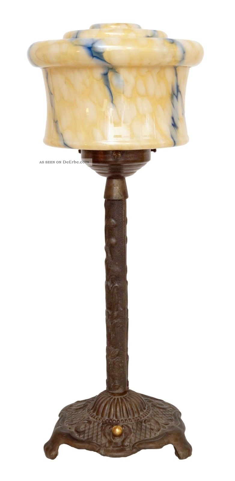 Fantastische Jugendstil Art Déco Tischlampe Lampe Messing 1930 Opalglas 1920-1949, Art Déco Bild