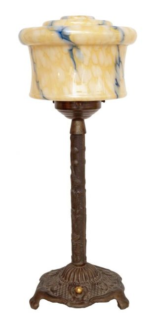 Fantastische Jugendstil Art Déco Tischlampe Lampe Messing 1930 Opalglas Bild