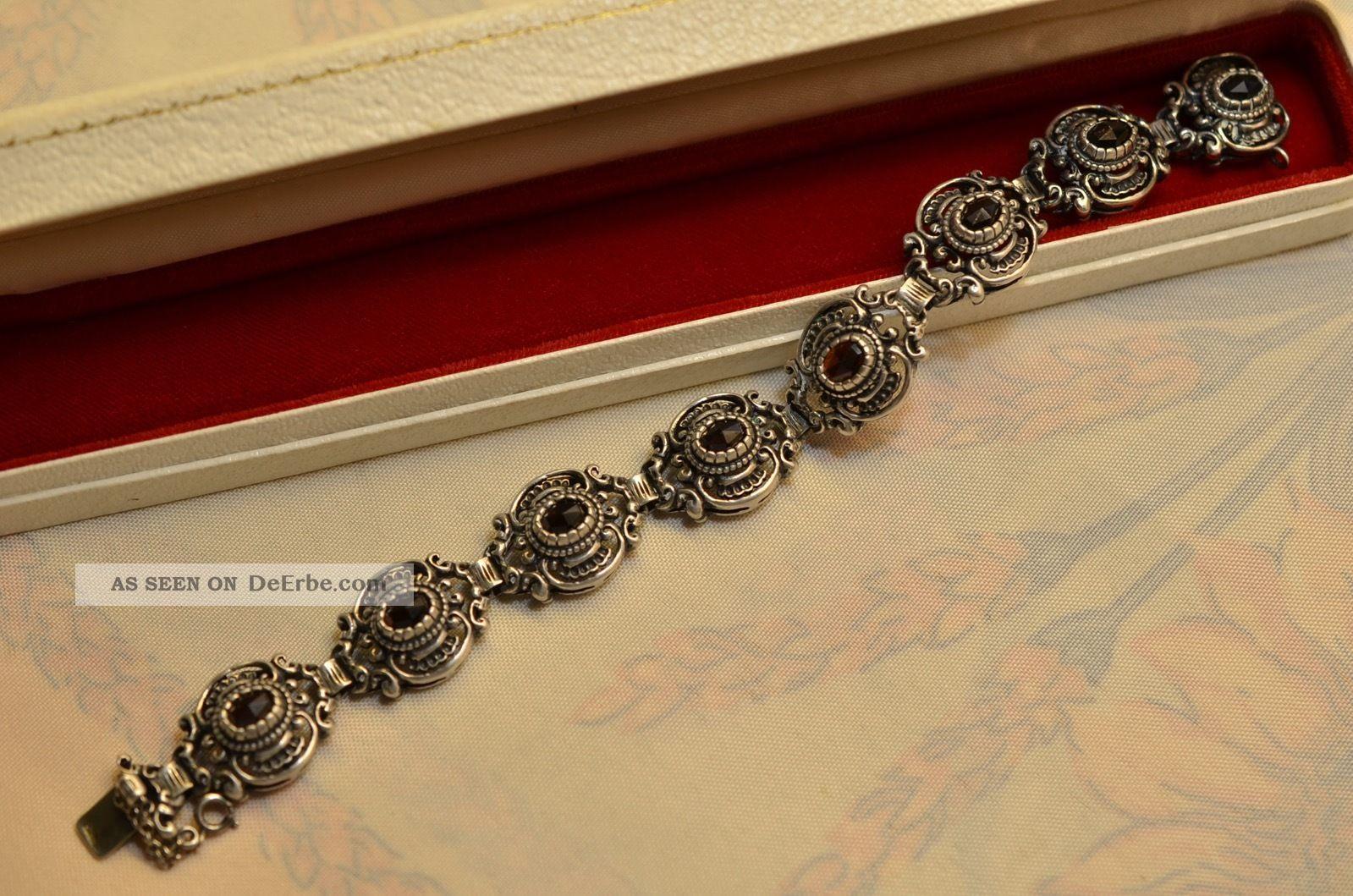 Schönes Altes Ausgefallenes Granat Armband Silber 835 Schmuck & Accessoires Bild
