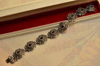 Schönes Altes Ausgefallenes Granat Armband Silber 835 Bild